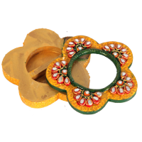 Wooden Kundan Crafted Flower Shaped Chopra Online For Puja