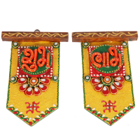 Wooden Kundan Crafted Hut shaped Shubh Labh Door Toran