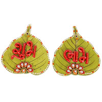 Wooden Kundan Leaf Shaped Shubh Labh Door Toran For Diwali