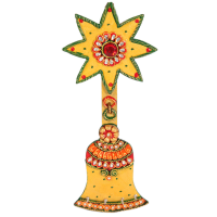 Wooden Kundan Beads Craft Bell Shaped Key Holder Online