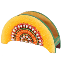 Handmade Kundan Wooden Crafted Tissue Paper Holder Online